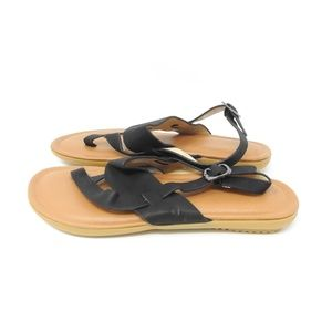 Tan/Black Strapped Leather Sandals NWOT